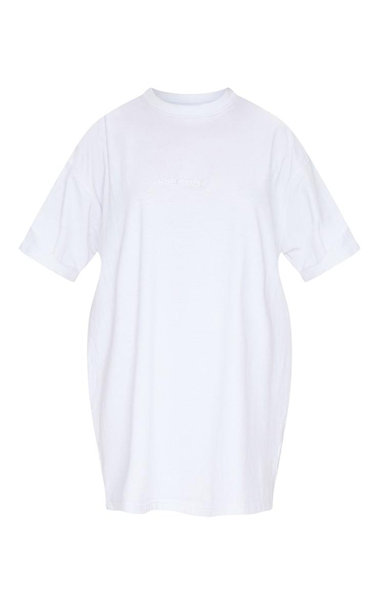 White Self Made Slogan Boyfriend T Shirt Dress 5