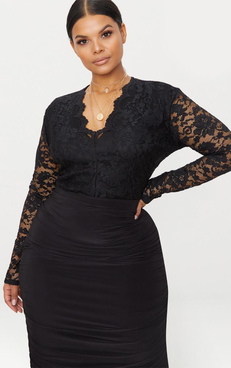 Plus Black Plunge Lace Bodysuit 1