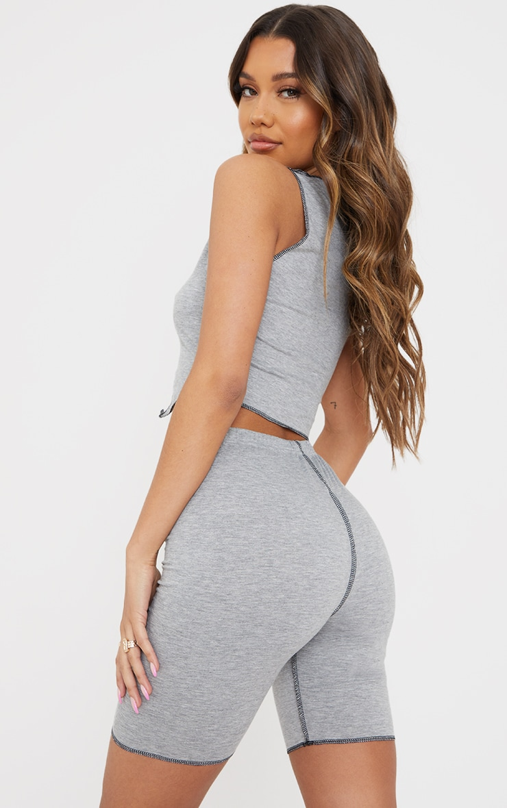 Grey Contrast Stitch Detail Sleeveless Crop Top 2