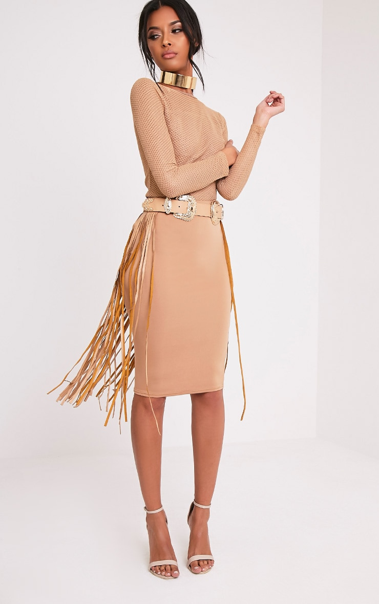 Lofa Nude Double Buckle Fringed Western Belt 1