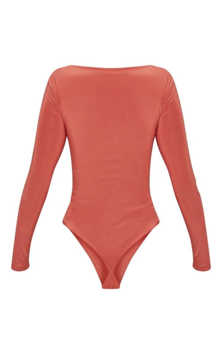 Terracotta Second Skin Square Neck Thong Bodysuit 4