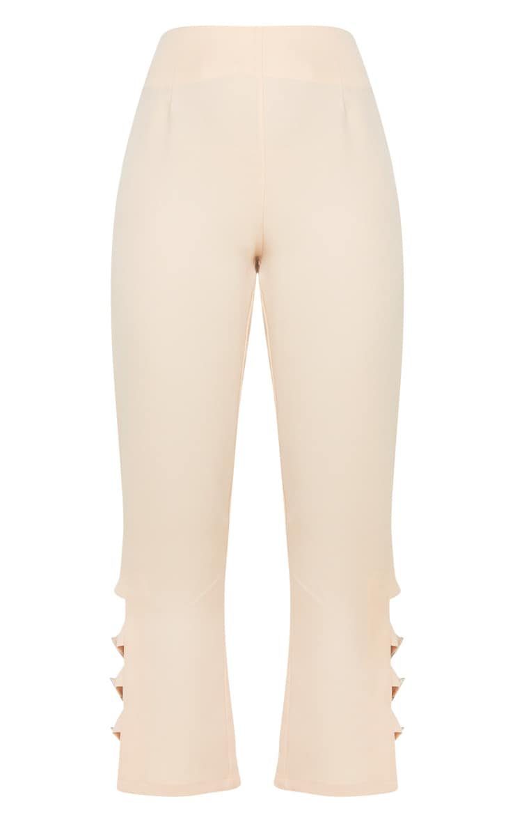 Taupe Woven Buckle Detail Straight Leg Trousers 3