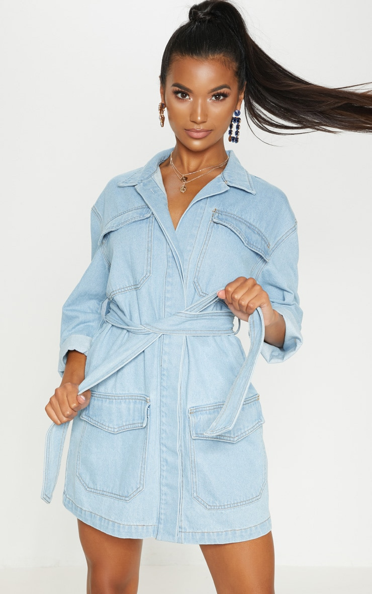 Mid Wash Denim Button Up Tie Detail Shirt Dress 3