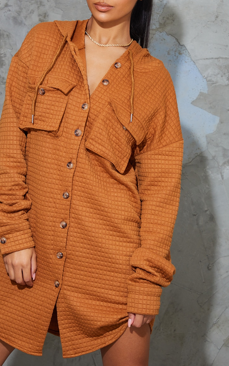 Camel Waffle Button Up Hooded Sweat Dress 4