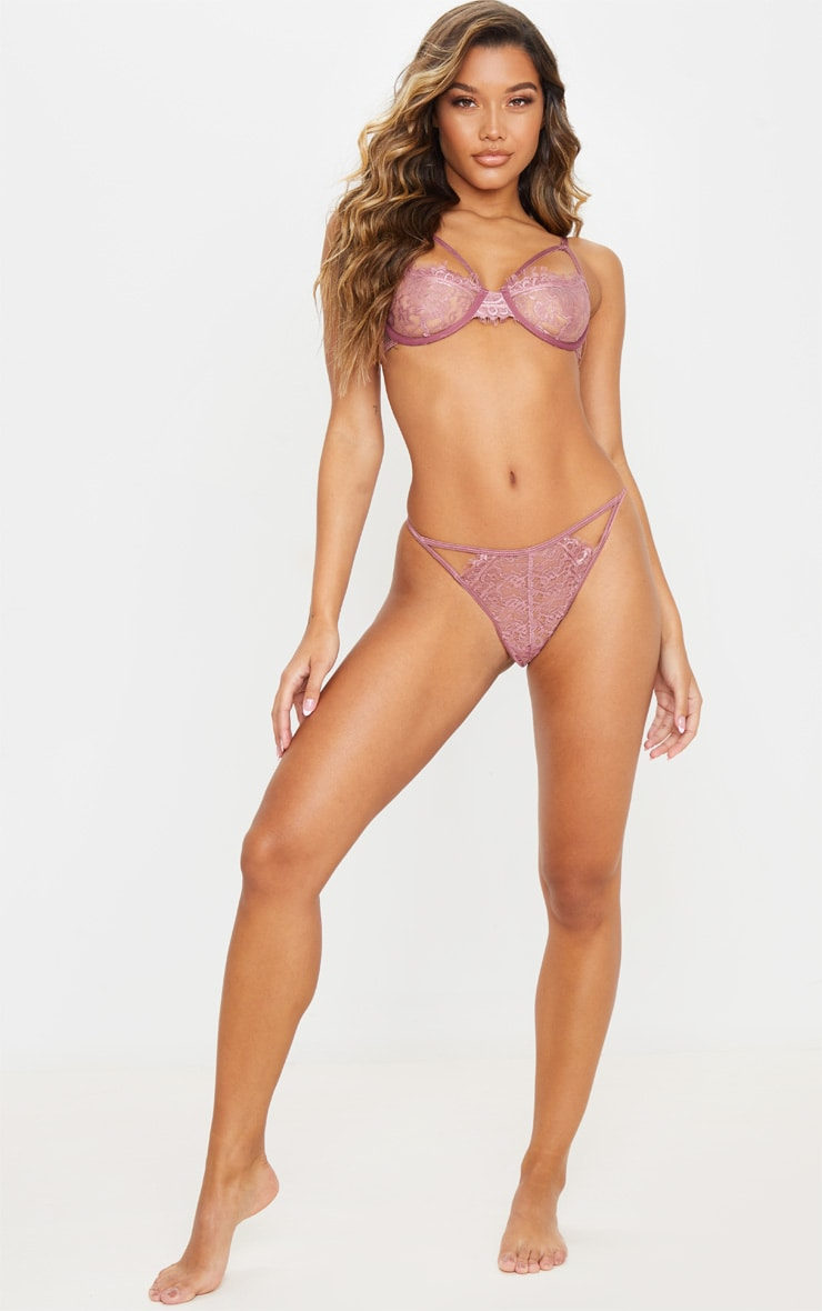 Mauve Eyelash Lace Strappy Thong 5