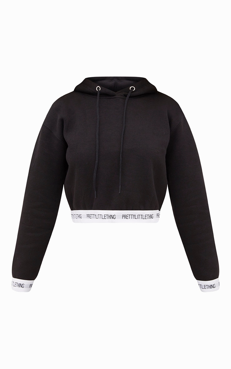 PRETTYLITTLETHING Black Trim Cropped Hoodie 3
