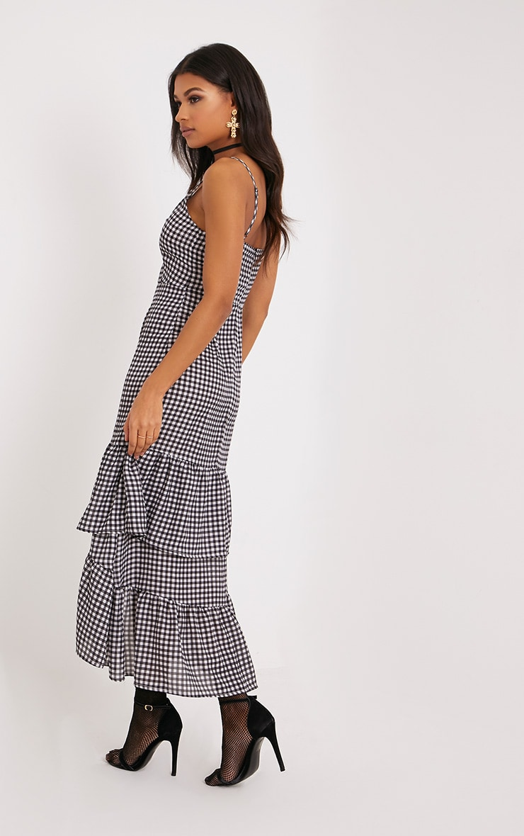 Kanayla Black Gingham Frill Midaxi Dress 2