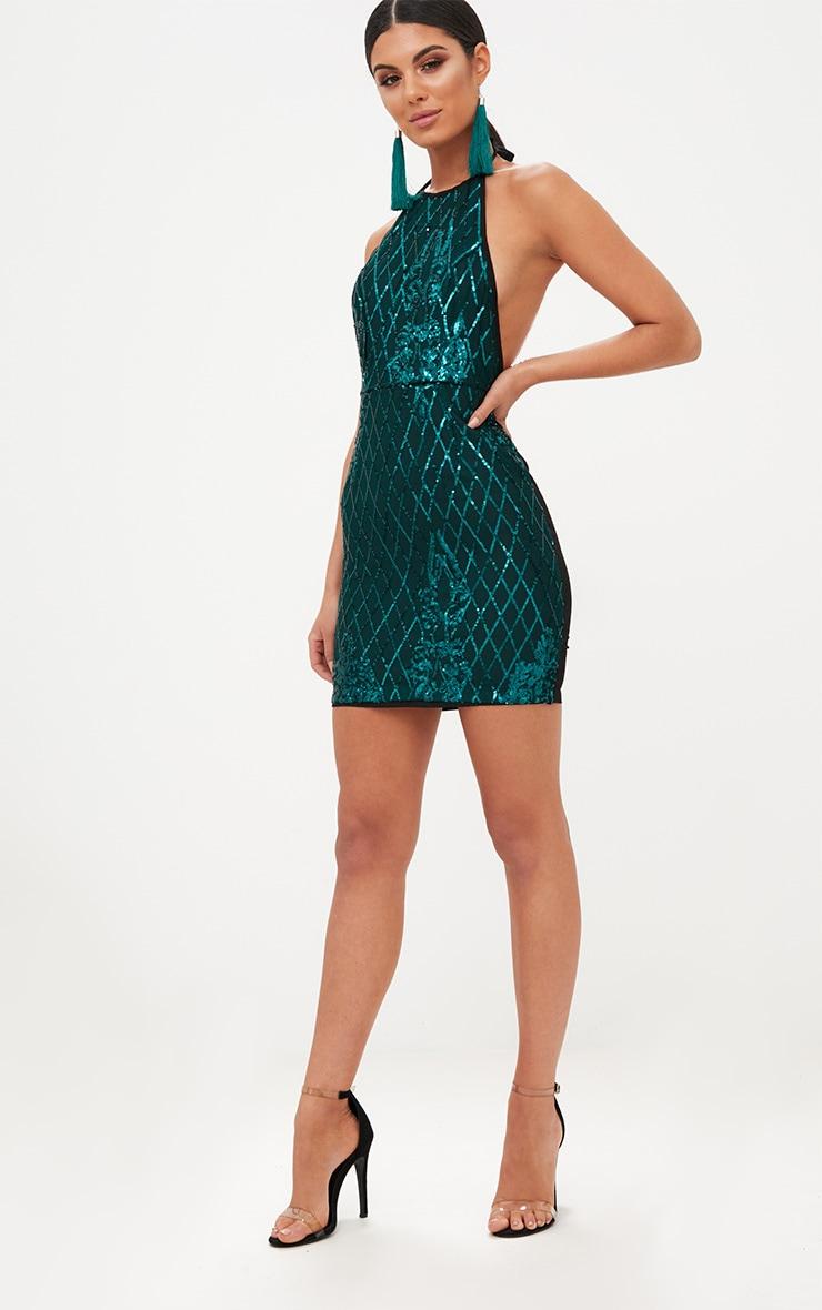 Emerald Green Sequin Front Bodycon Dress 4