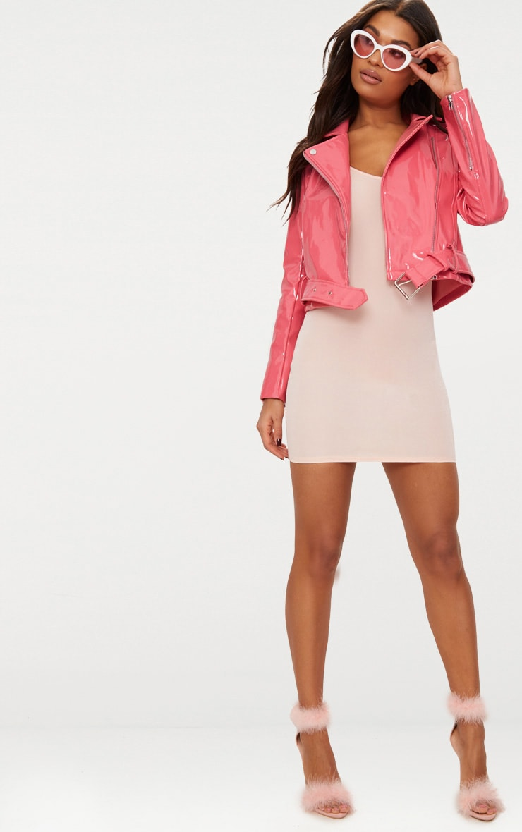 Pink High Shine Vinyl Biker Jacket 4