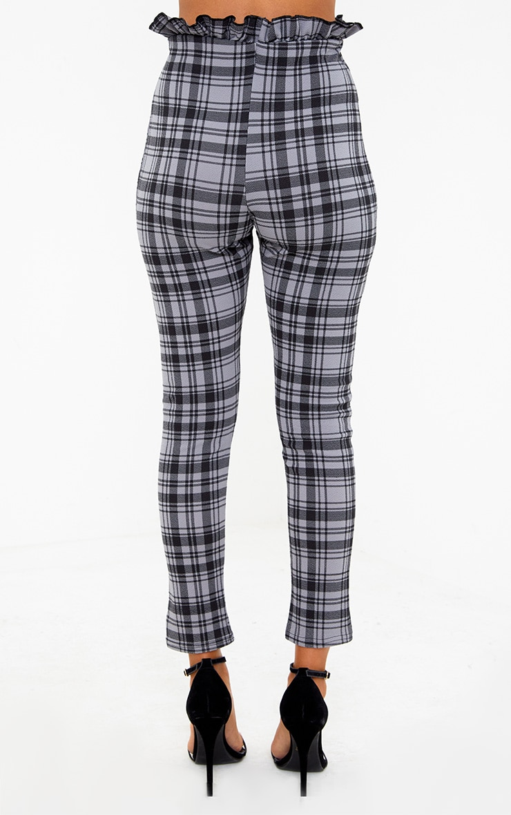 Grey Check Paperbag Skinny Trousers 4