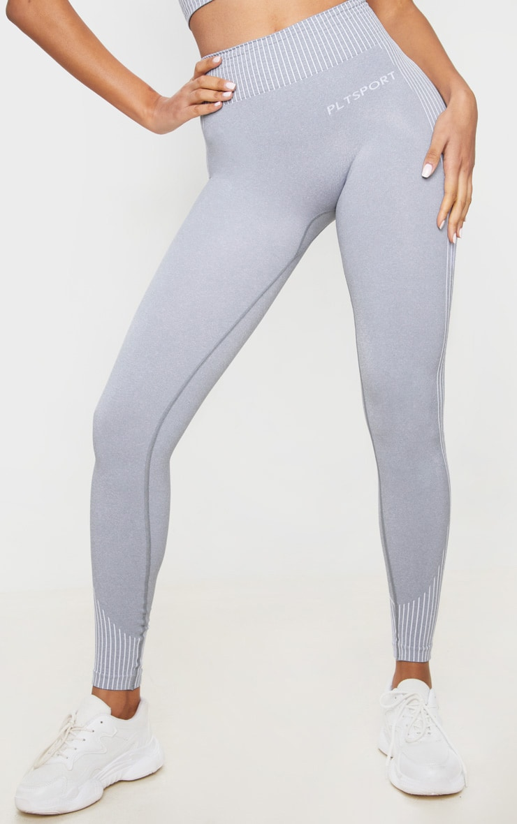PRETTYLITTLETHING Sport Light Grey Seamless Contour Leggings 2