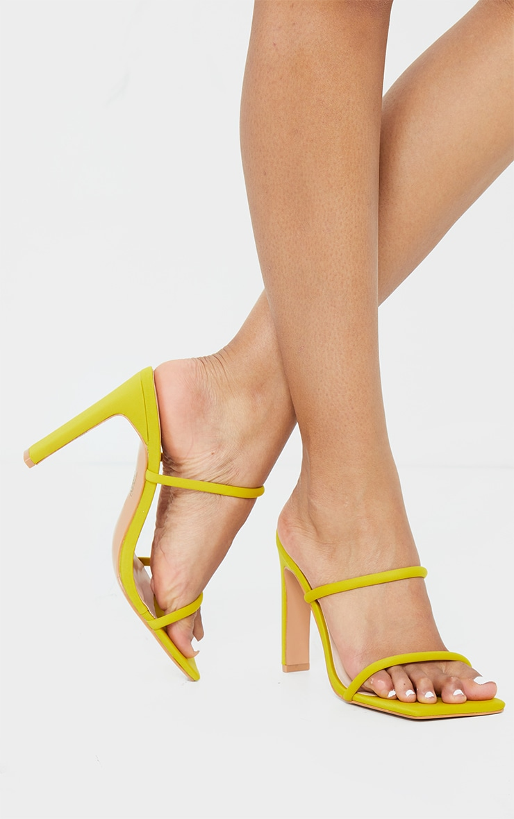 Lime Lycra Extreme Square Toe Twin Strap Mule High Heel 2