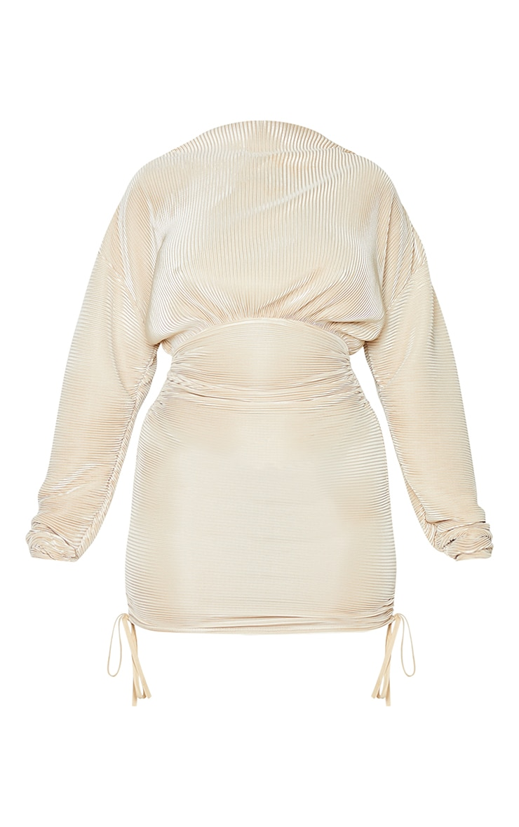 Champagne Plisse Detail Long Sleeve Ruched Skirt Bodycon Dress 5