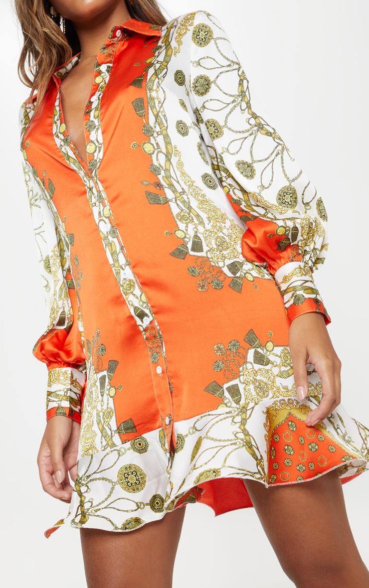 Orange Chain Print Frill Hem Shirt Dress 5