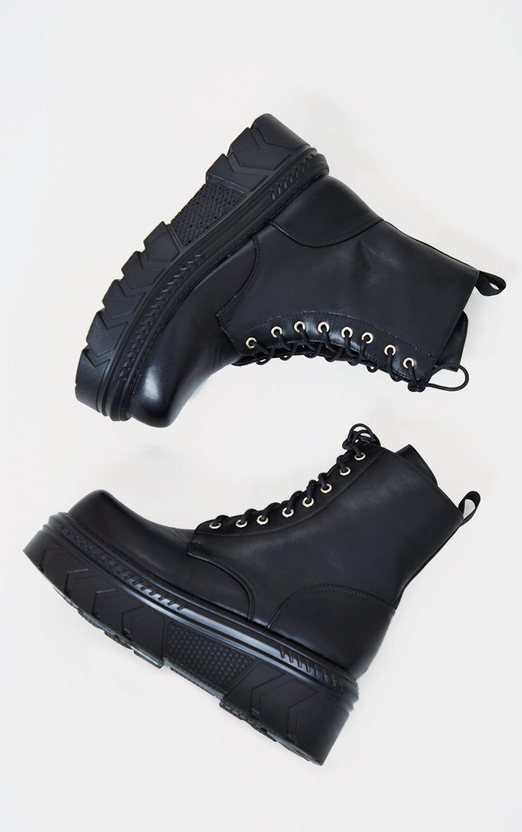 Black Extreme Chunky Chevron Sole Biker Boots 4