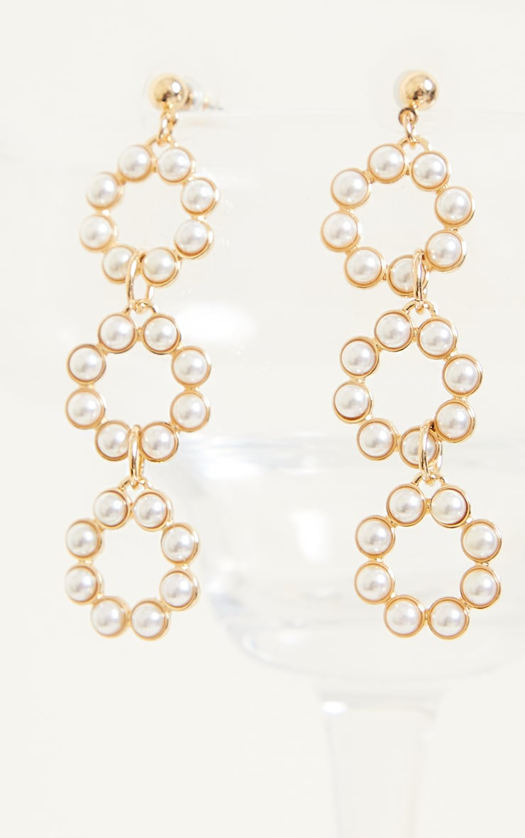 Gold Round Pearl Drop Hoop Earrings 2