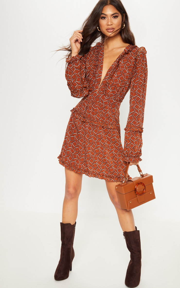 Brown Geo Print Frill Detail Skater Dress image 1 a2c37fcfb