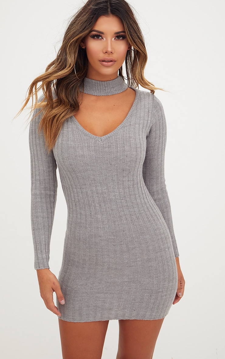 Grey Choker Jumper Dress 1