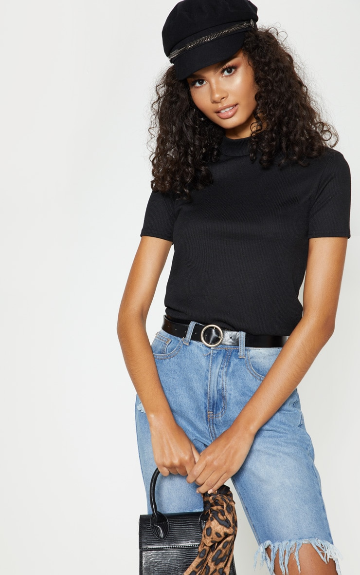 Black Rib High Neck Short Sleeve Top 4