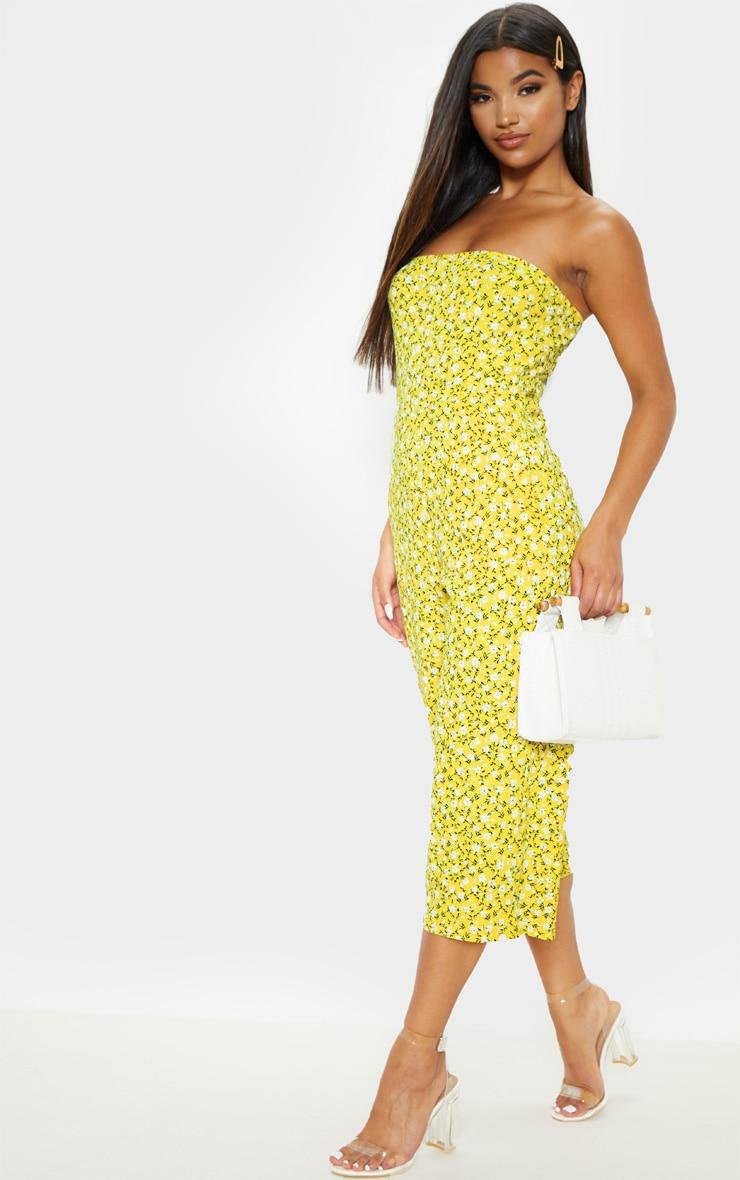 Yellow Ditsy Floral  Bandeau Culotte Jumpsuit 3