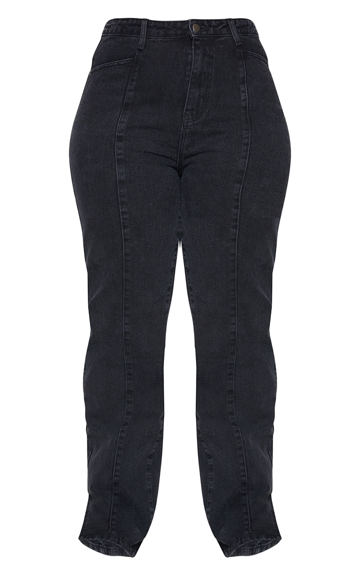 Plus Black Seam Detail Straight Long Leg Jeans 5