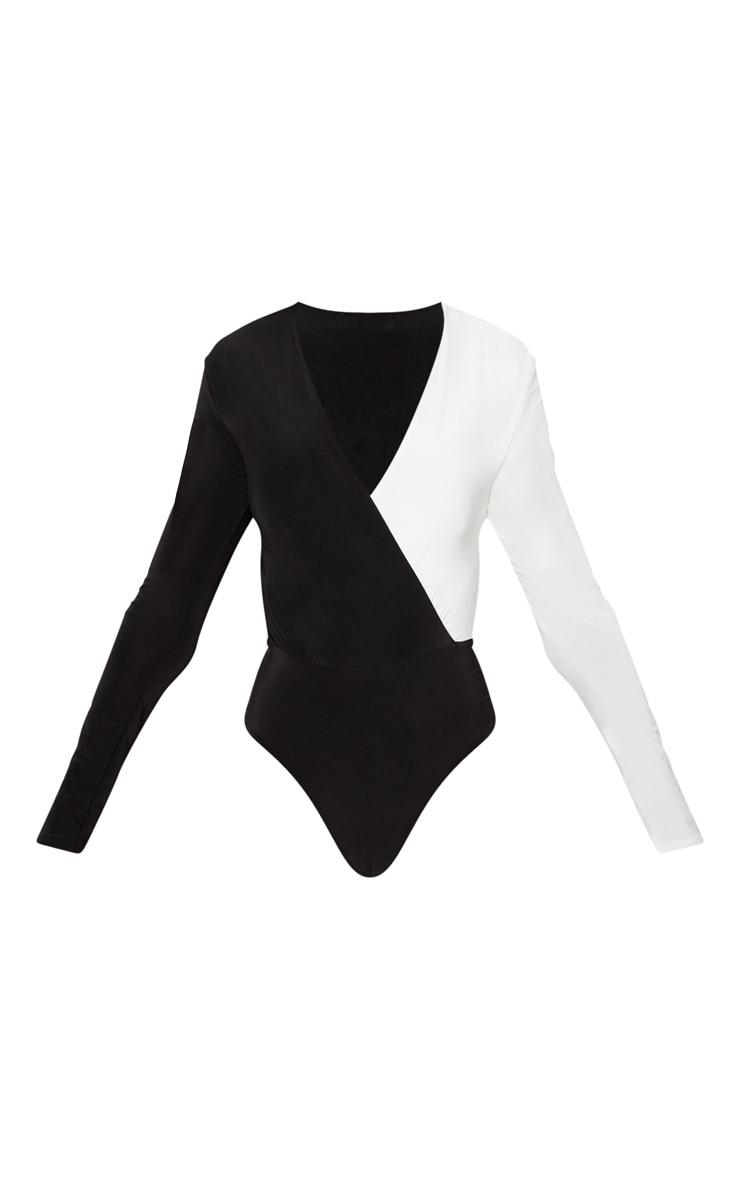 Monochrome V Neck Contrast Slinky Bodysuit 3