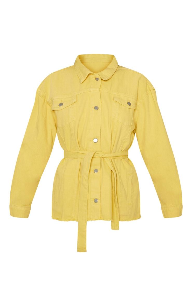 Yellow Tie Waist Oversized Denim Jacket 3