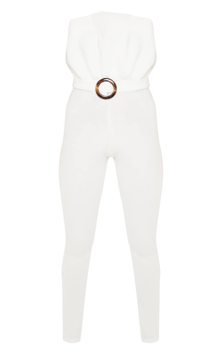 White Bonded Scuba Ruffle Top Tortoise Shell Buckle Jumpsuit 3