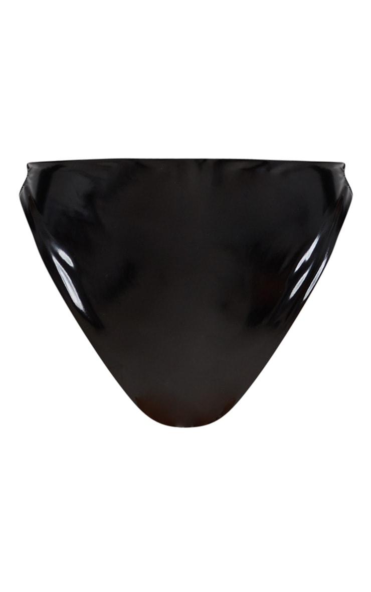 Black Vinyl Super High Leg Bikini Bottom 7