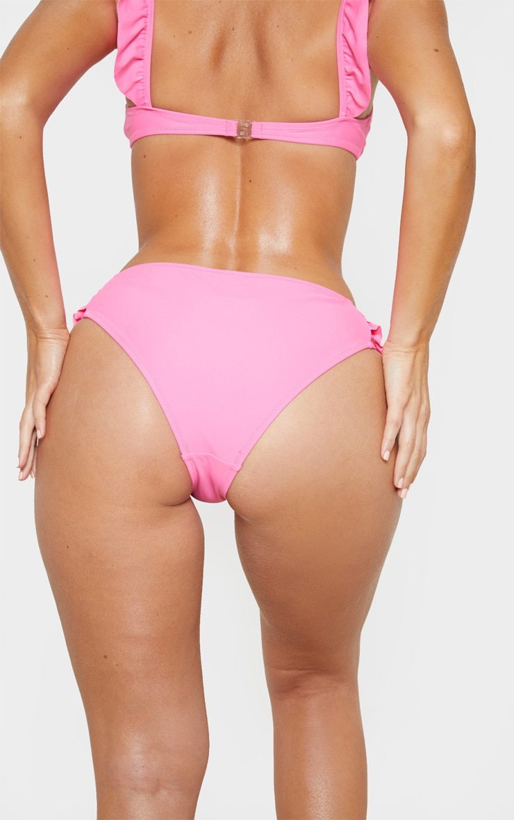 Bright Pink Frill Side Bikini Bottom 4