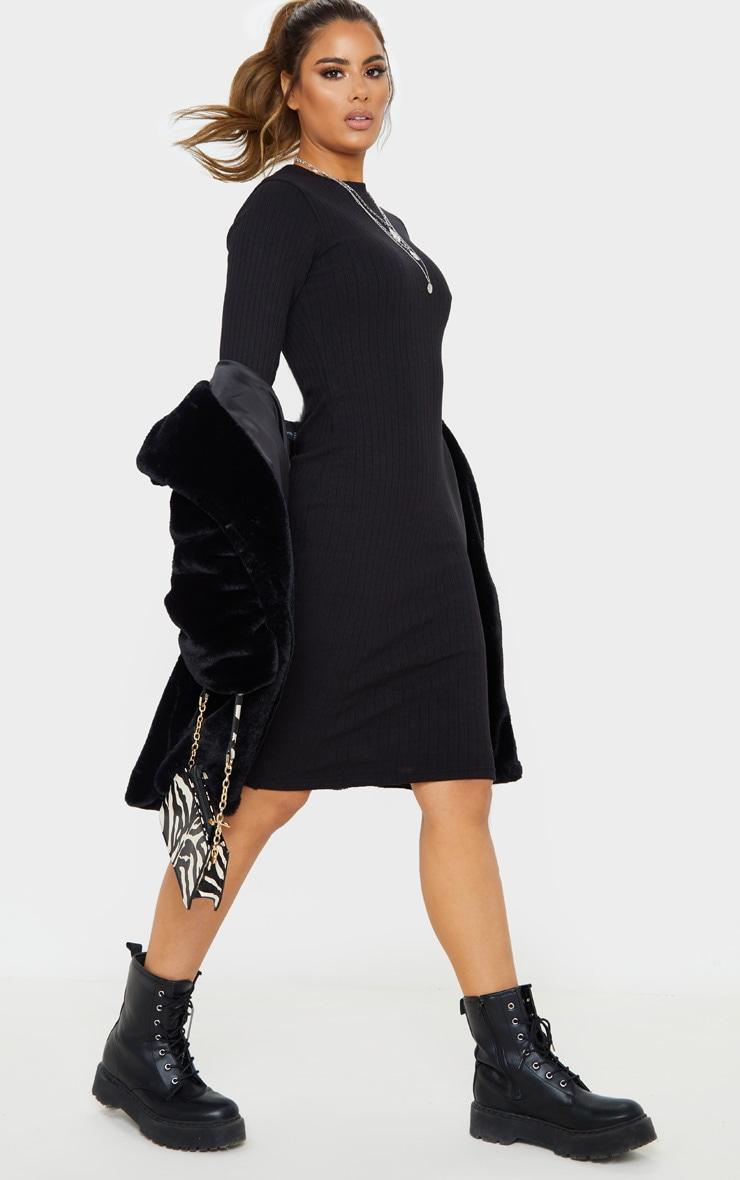Tall - Robe mi-longue en maille noire à manches longues 4
