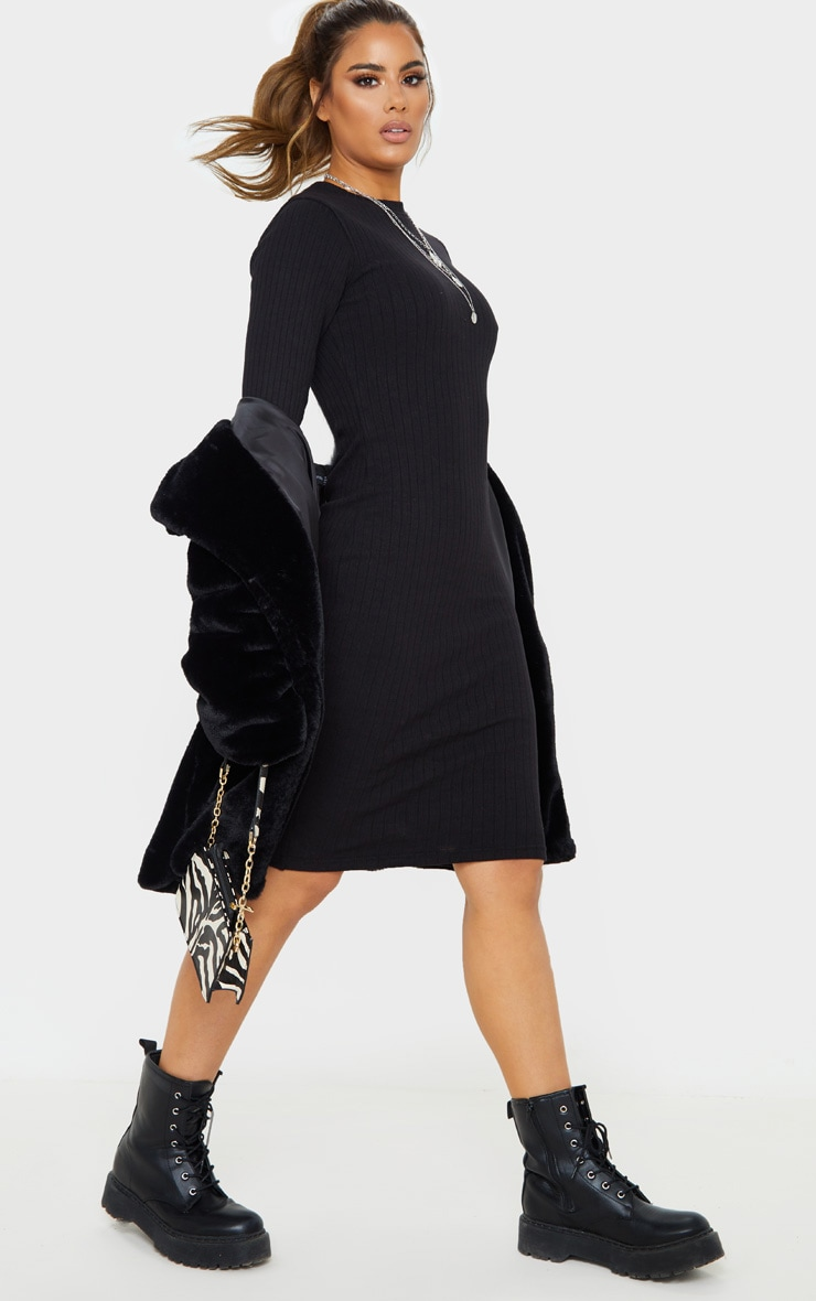Tall Black Knitted Long Sleeve Midi Dress 4