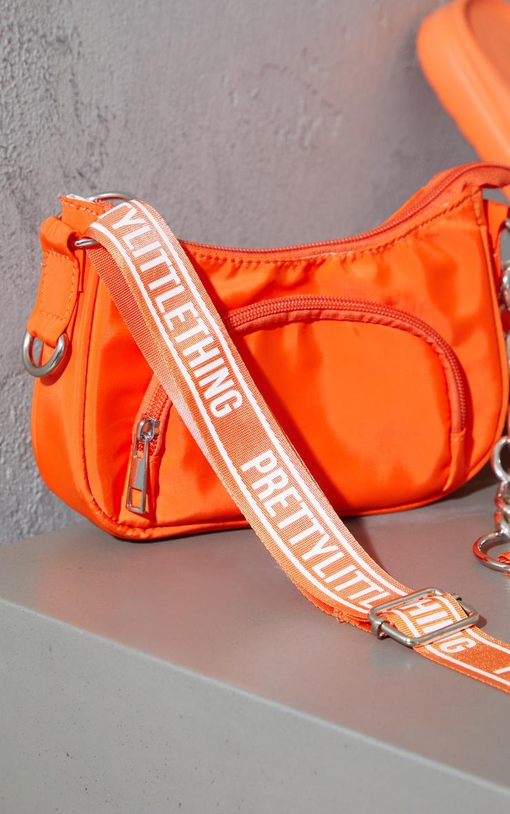 Orange Multi Pocket Chain Cross Body Bag 4
