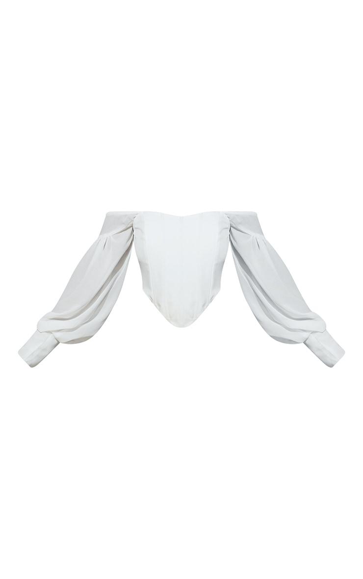 White Bardot Sheer Sleeve Corset Top 5
