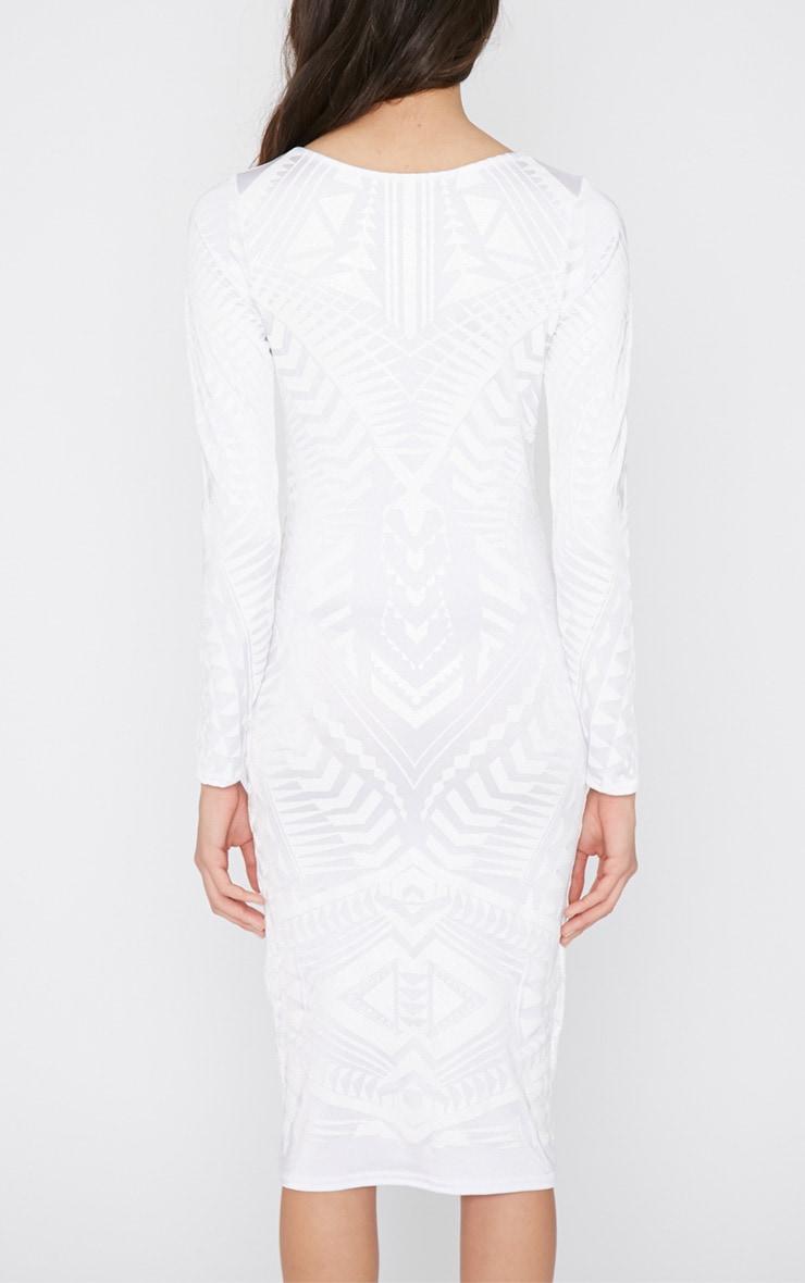 Elodie White Aztec Glitter Print Midi Dress 2