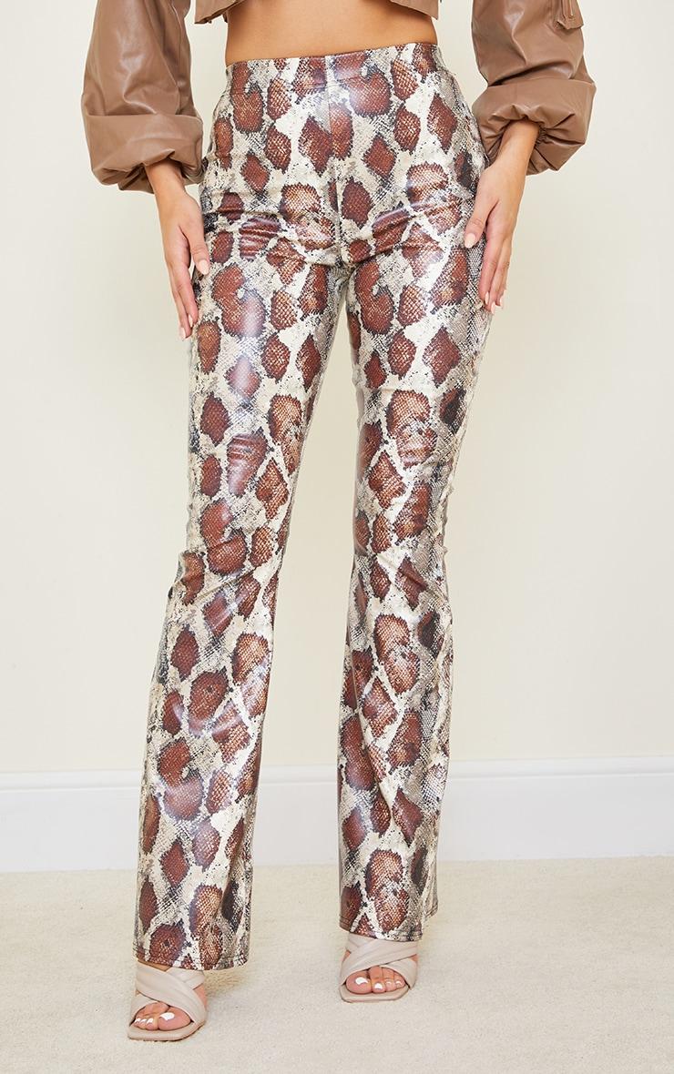 Tall Brown Snake Print PU Flared Pants 2