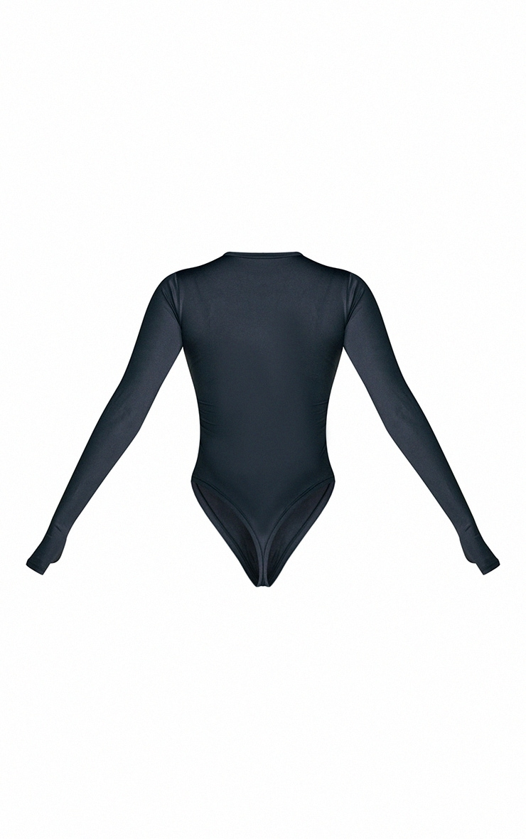 PRETTYLITTLETHING Black Long Sleeve Gym Bodysuit 7