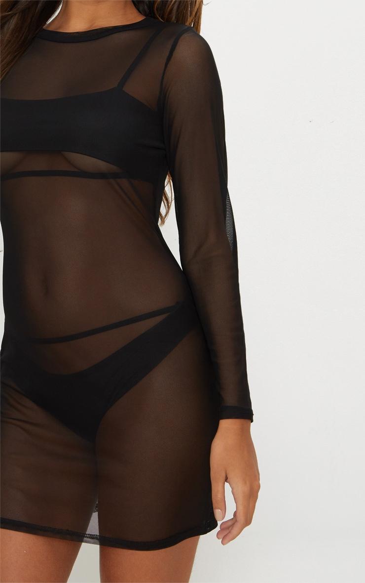 Black Mesh Beach Bodycon Dress 3