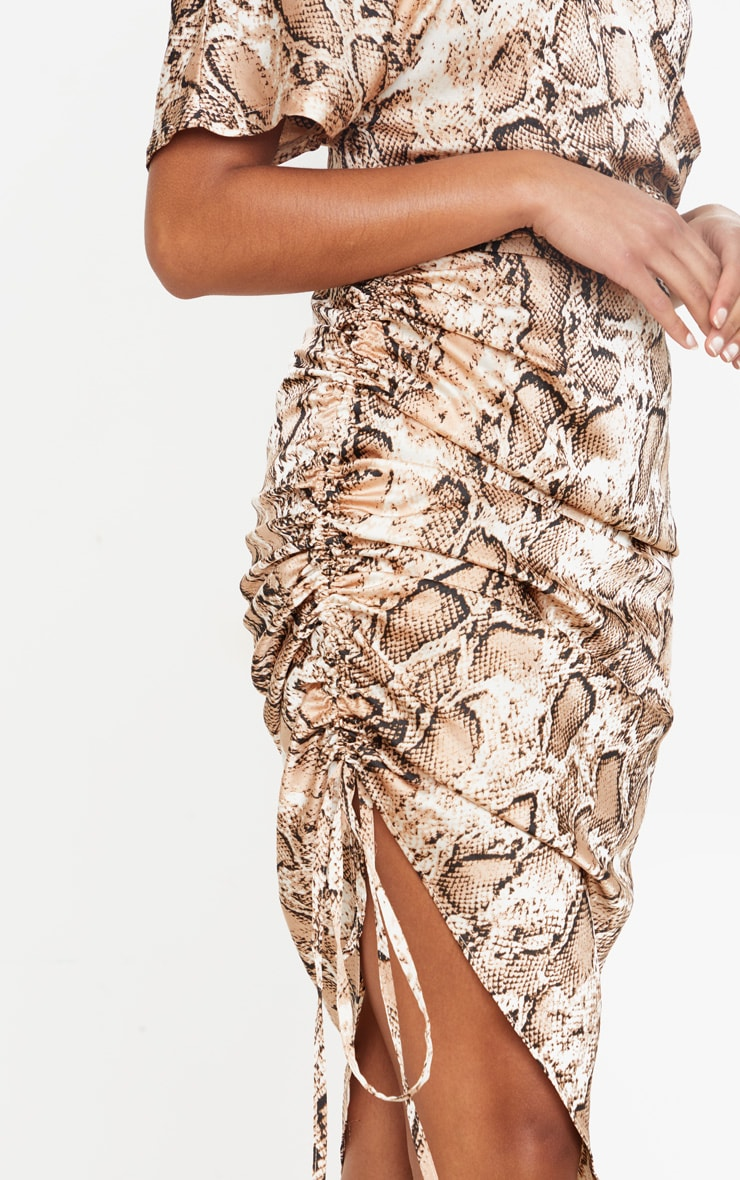 Tan Snake Print One Shoulder Ruched Side Midi Dress 4