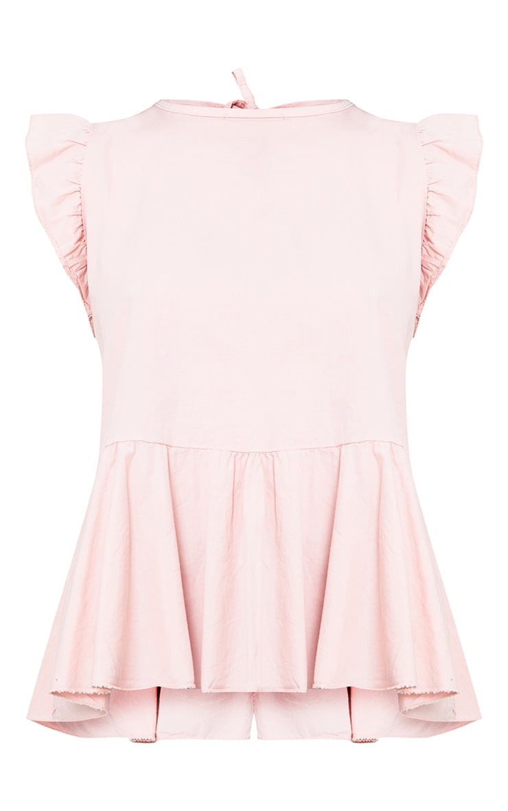 Pink Frill Shoulder Tie Back Shirt 2