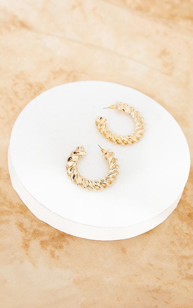 Gold Medium Chunky Ribbed Hoop Earrings 2