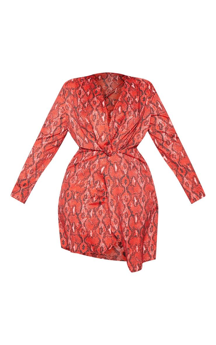 Plus Red Snake Print Long Sleeve Wrap Dress 3