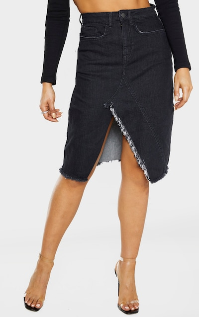 Tall Washed Black Split Hem Midi Denim Skirt