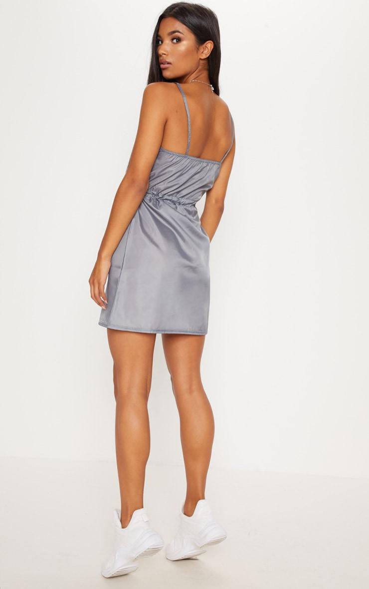 Grey Shell Drawstring Strappy Shift Dress 2