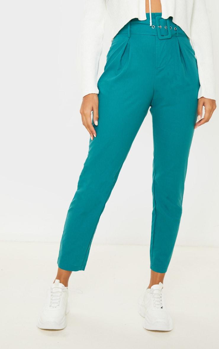 Jasper Green Belted Paperbag Tapered Pants 3