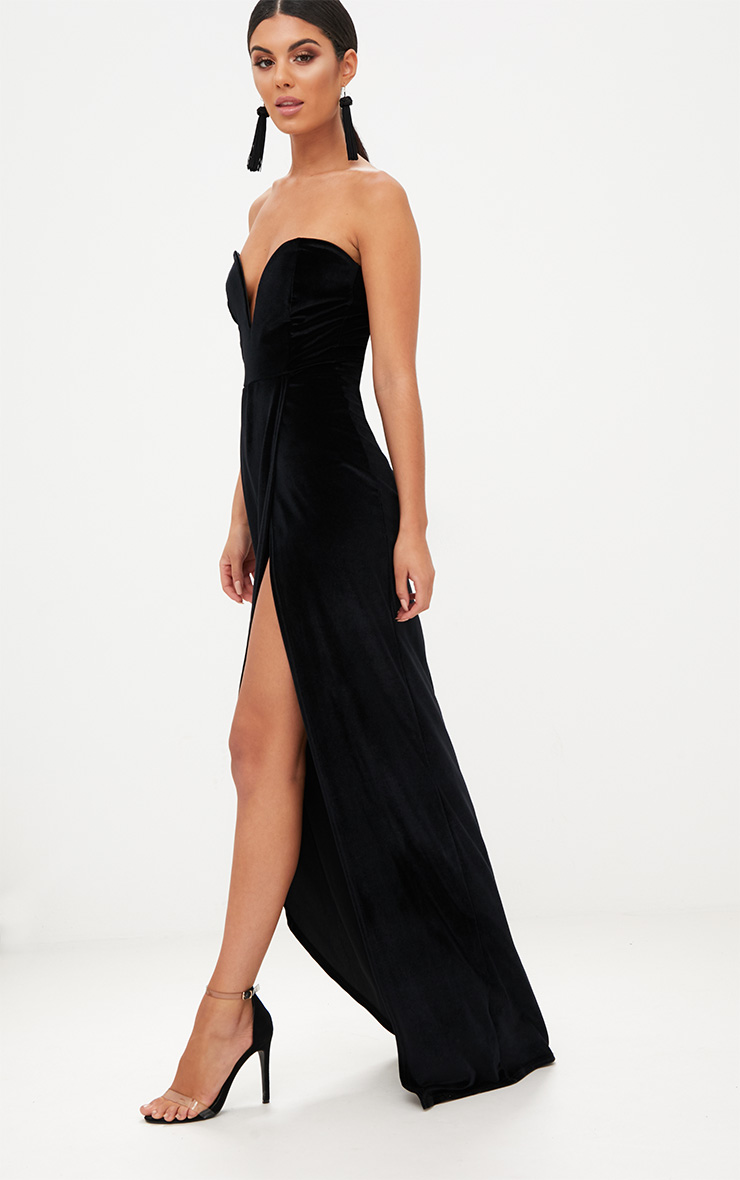 Black Velvet Draped Wrap Detail Bandeau Maxi Dress 4