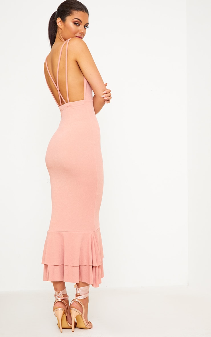 Blush Strappy Fishtail Midi Dress 2