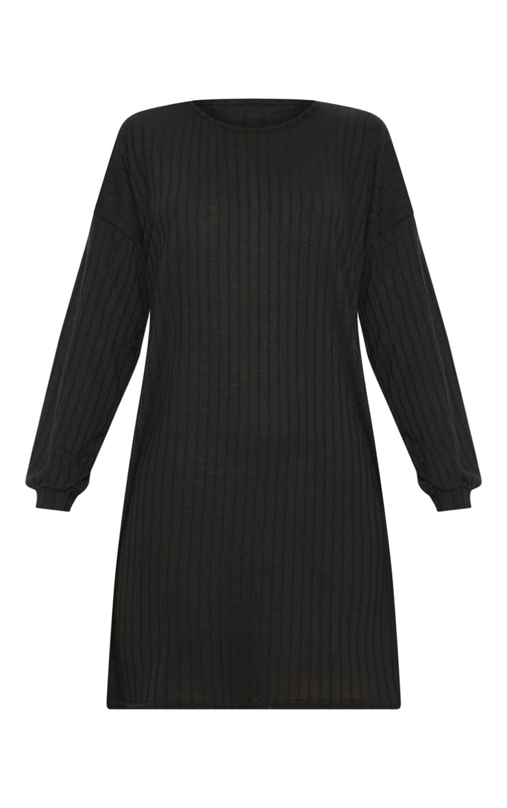 Black Wide Ribbed Oversized Jumper Dress 3