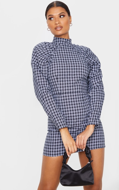 Navy Check Print High Neck Puff Sleeve Button Detail Shift Dress