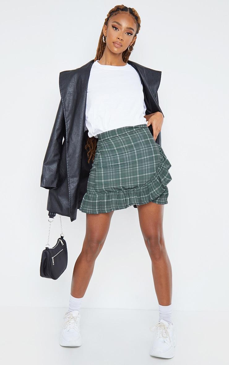 Khaki Check Wrap Frill Hem Mini Skirt 1